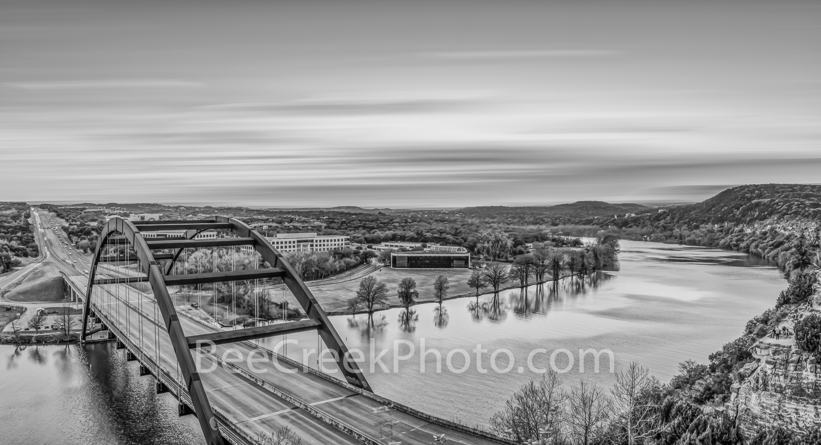 Pennybacker Bridge BW - Another capture of the Austin 360 Bridge at sunset that crosses Lake Austin from a high point on the...
