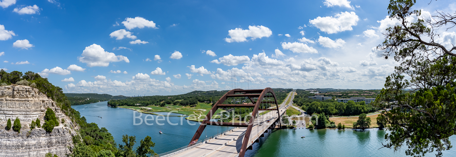 austin texas, 360 bridge, pennybacker bridge, 360 hwy, texas hill country, lake austin, downtown austin, city of austin, hill coutry, capital of texas highway, pennybacker overlook, panorama,percy v. , photo