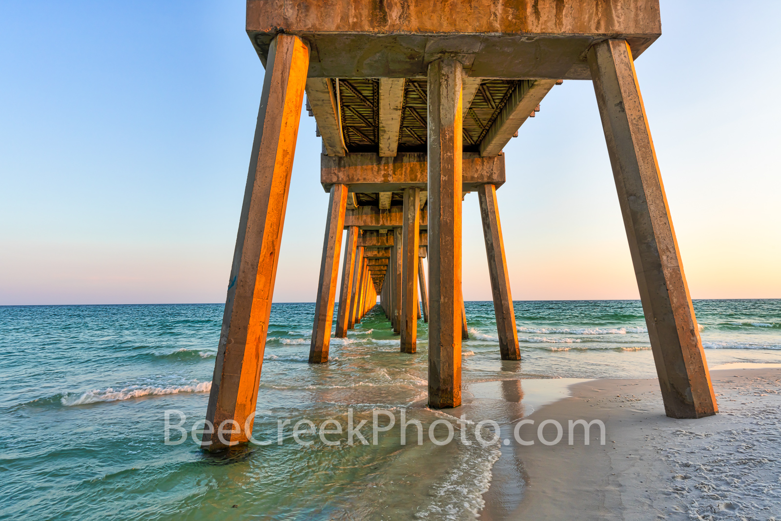Pensacola Beach Gulf Pier - This capture of the Pensacola Beach Gulf Pier was taken from below to show the structure of this...
