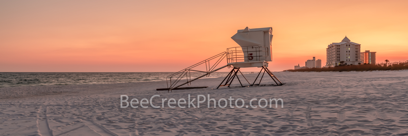 Pensacola Lifeguard Station Sunset Pano - Sunset at Pensacola Beach with Lifeguard Station along shoreline almost a silouette...