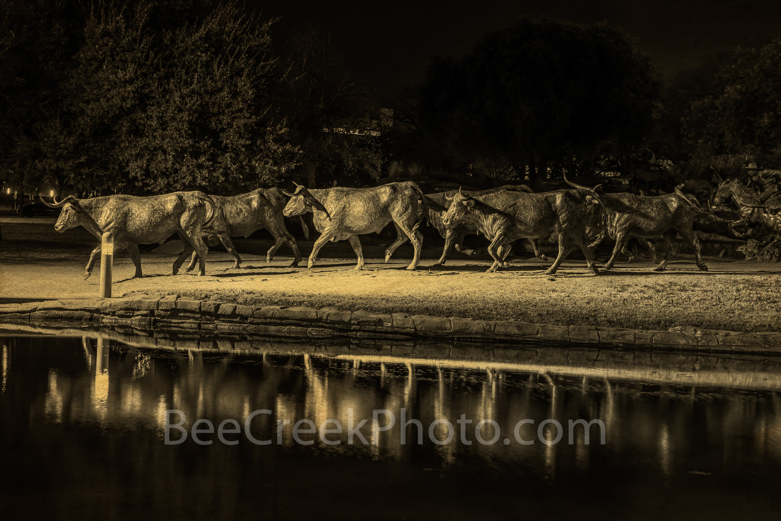Dallas, pioneer park, downtown, bronze statues, cattle drive, shawnee trail, longhorns, cowboy, trail rider, herd, water, reflections, antique, sepia, , photo