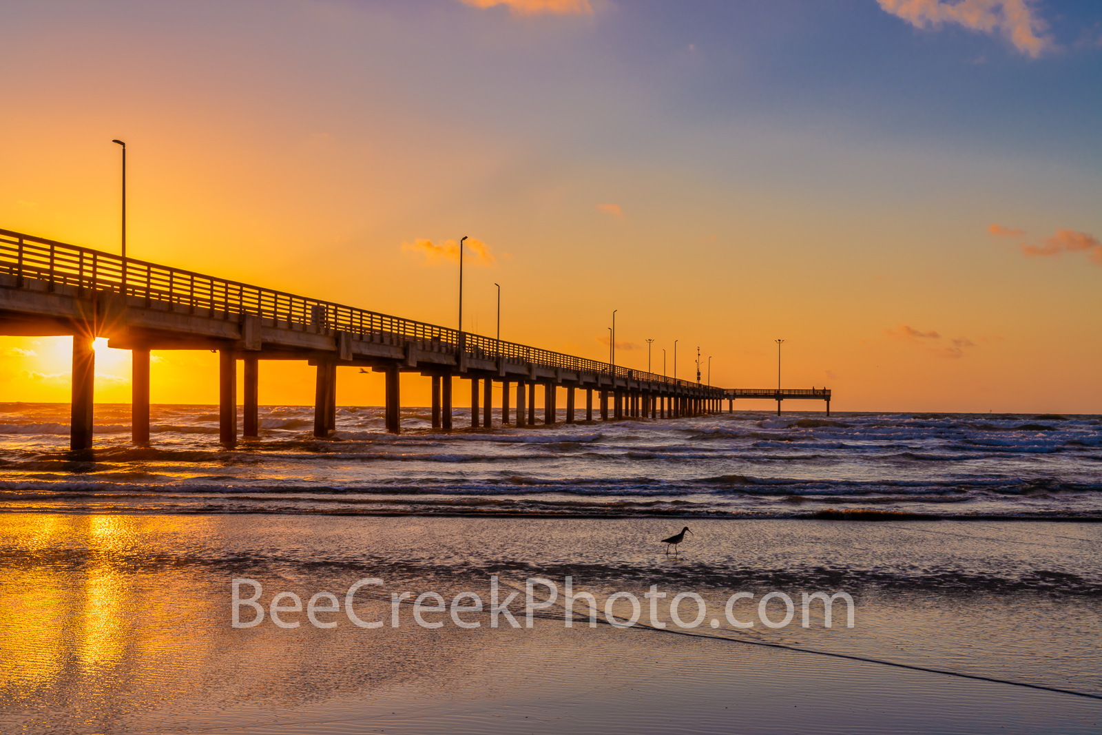 Port A Caldwell Pier Sunrise Glow Texas Coast- We captured this image one side of the Port A Caldwell Pier as the sunrise rises...