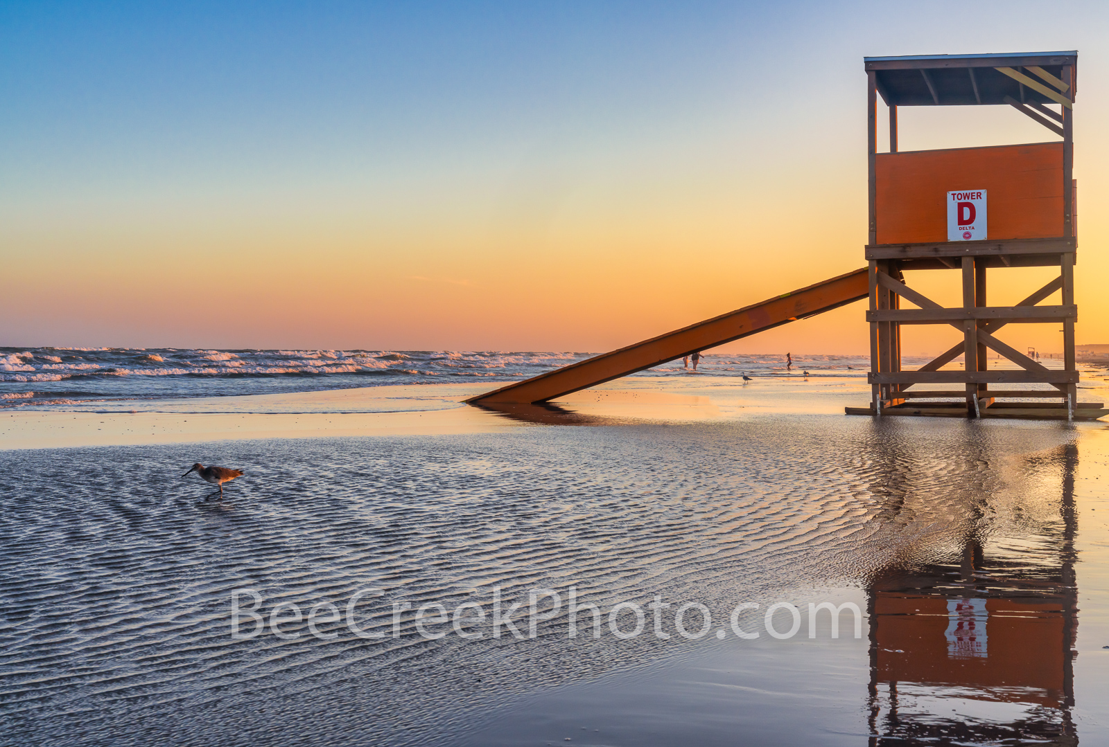 Port Aransas Life Guard Stand Dusk - Well it was after sunset and the color in the sky still had highlights of orange, yellows...