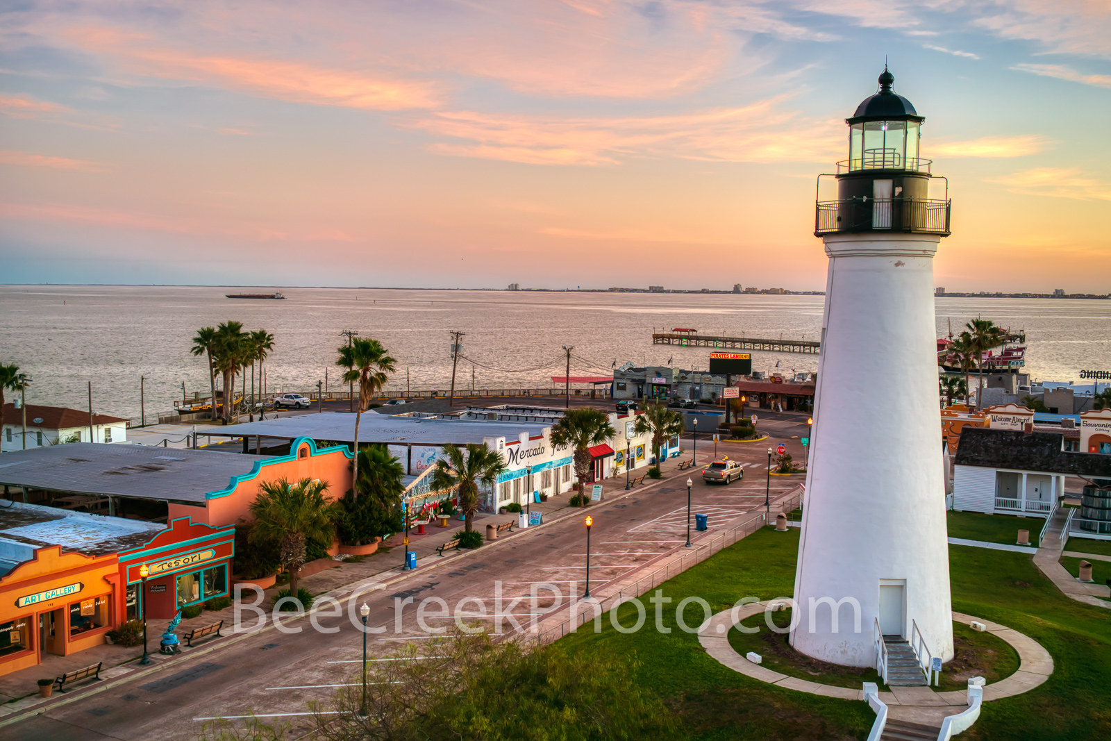 Port Isabel Downtown and Lighthouse - We like this capture of the downtown shops along with the lighthouse as it looks over the...