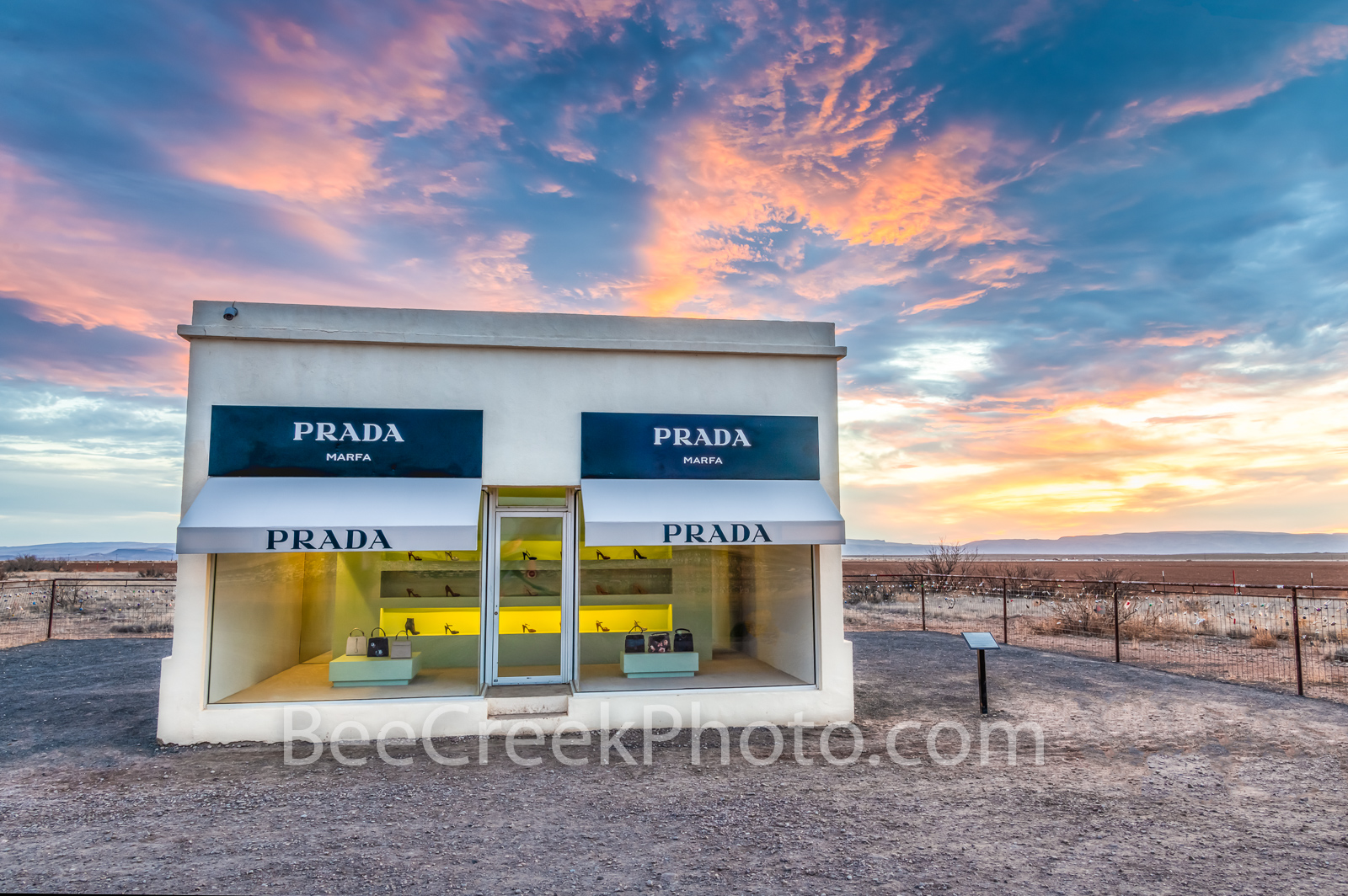 prada marfa sunset, west texas, prada, prada marfa, alpine, sunset, sunrise, landscape, texas. marfa prada, art, art exhibit, texas scenery, elmgreen and dragset, artist, art exhibit, texas scenery,