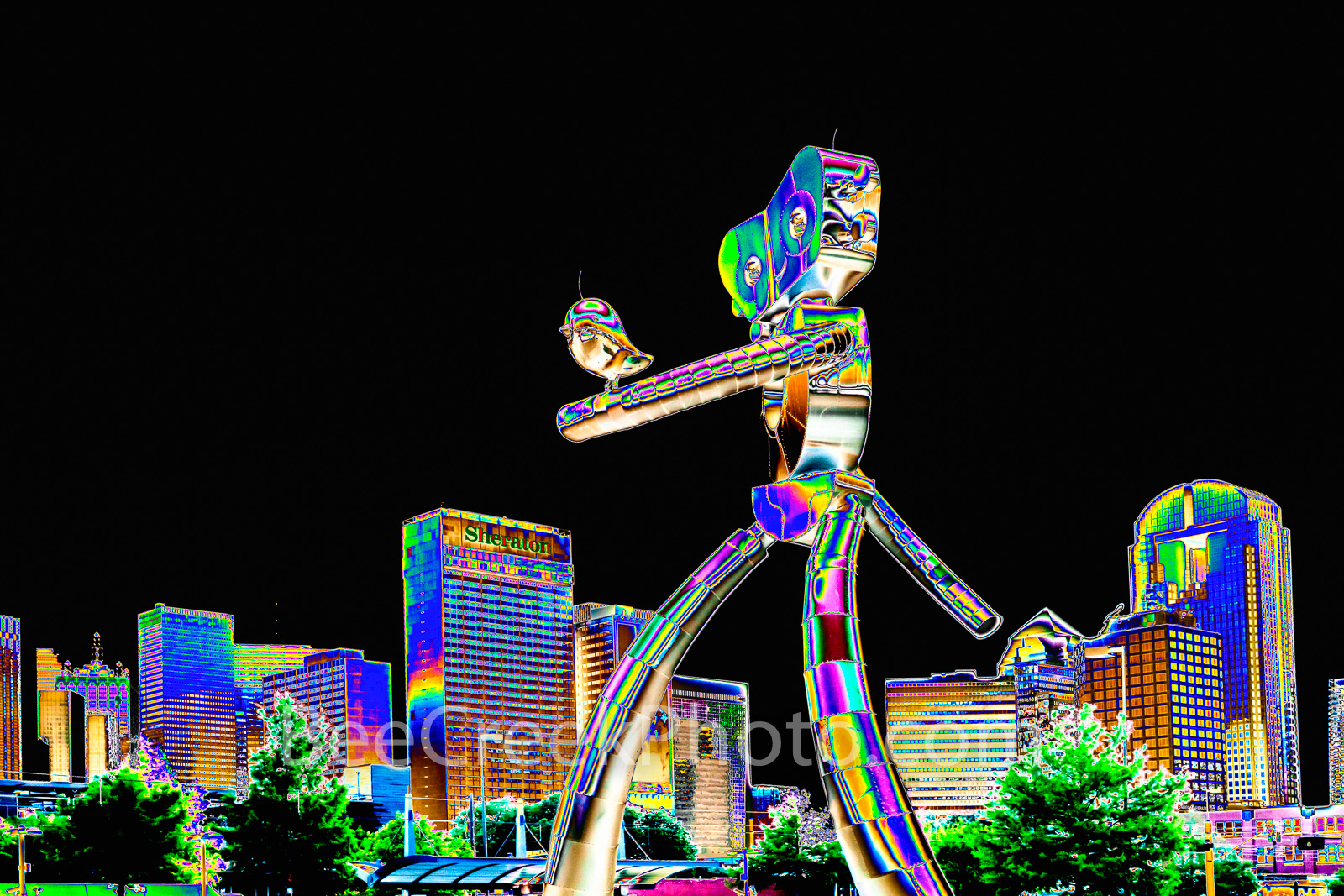 whismical, Dallas, Traveling Man, psychedelic, digital, digital art, Dallas skyline, traveling man, dallas, skyline, train, mass transit, scuplture, robot, strolling, bird, birds, Deep Ellum, cityscap, photo