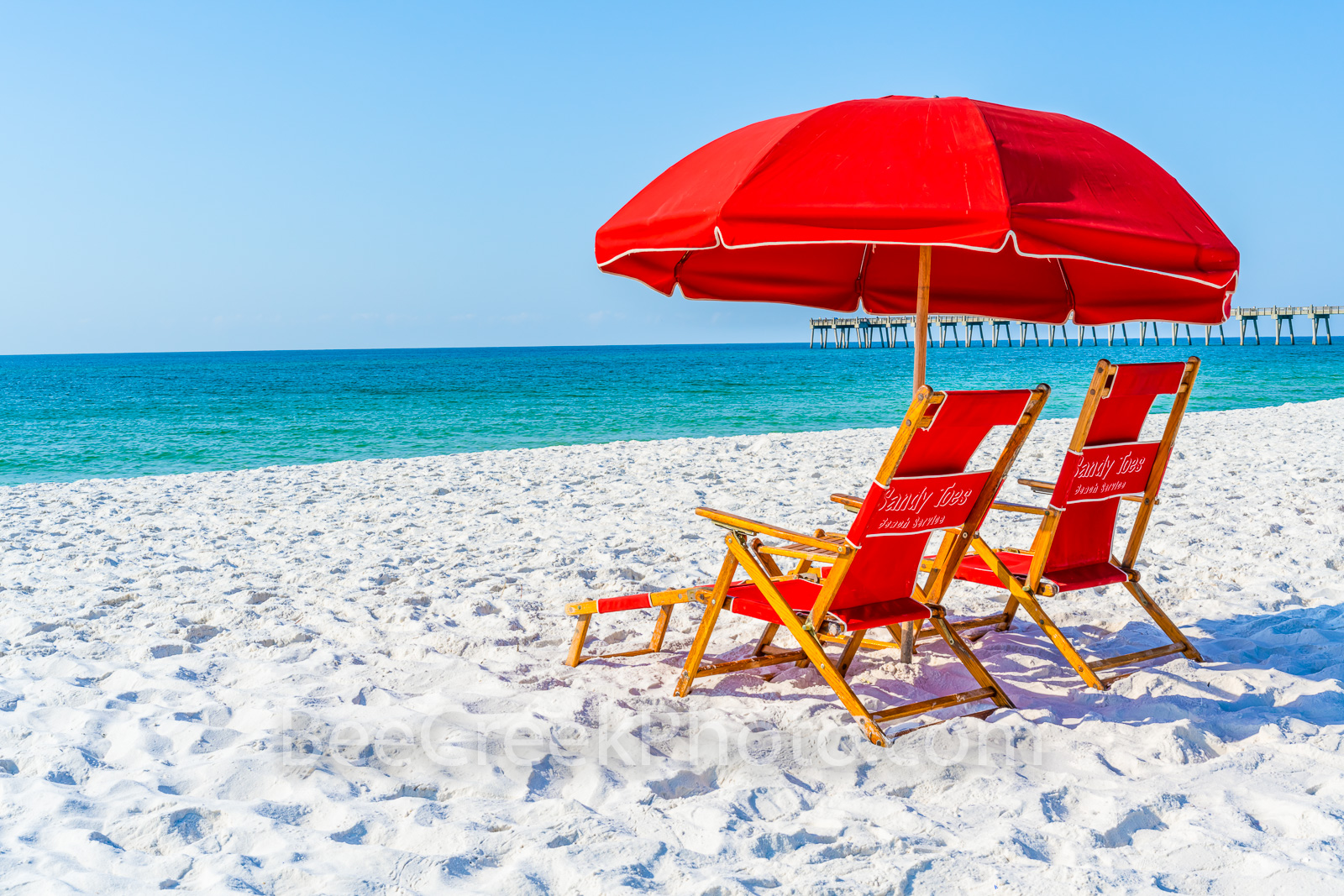 Red Umbrella on the Beach - Daydreaming on Pensacola beach Florida with this beautiful white sand and emerald green waters under...