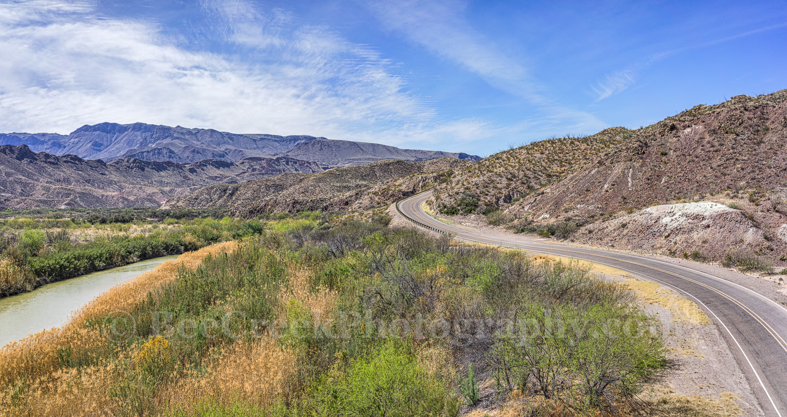 Big Bend State Park, FM170, Mountains, Rio Grande River, aerial, cattail, landscape, mexico, natural, nature, pano, panorama, river road, us, water, photo