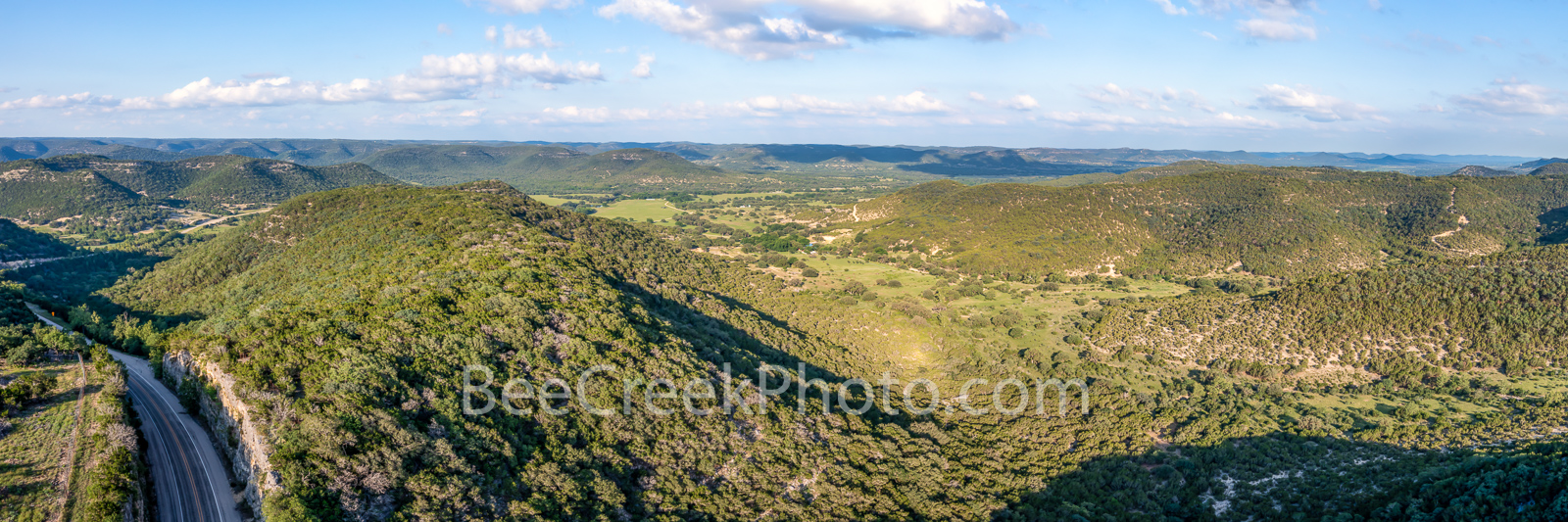 Road Through the Texas Hill Country - We captured this aerial image of a road cut through the Texas hill country near Leaky and...