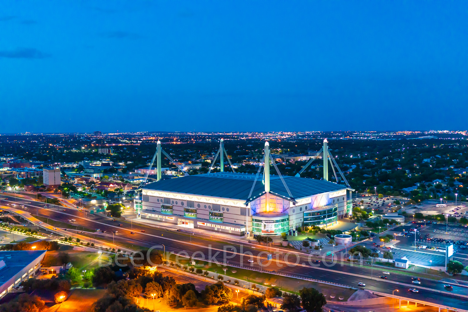 San Antonio Alamodome twilight, downtown, cityscape, cityscapes, sports, events, music, convention center, highway, Henry B Gonzales, Hemisphere park, Texas sports, UTSA Roadrunners, prints, canvas, m, photo