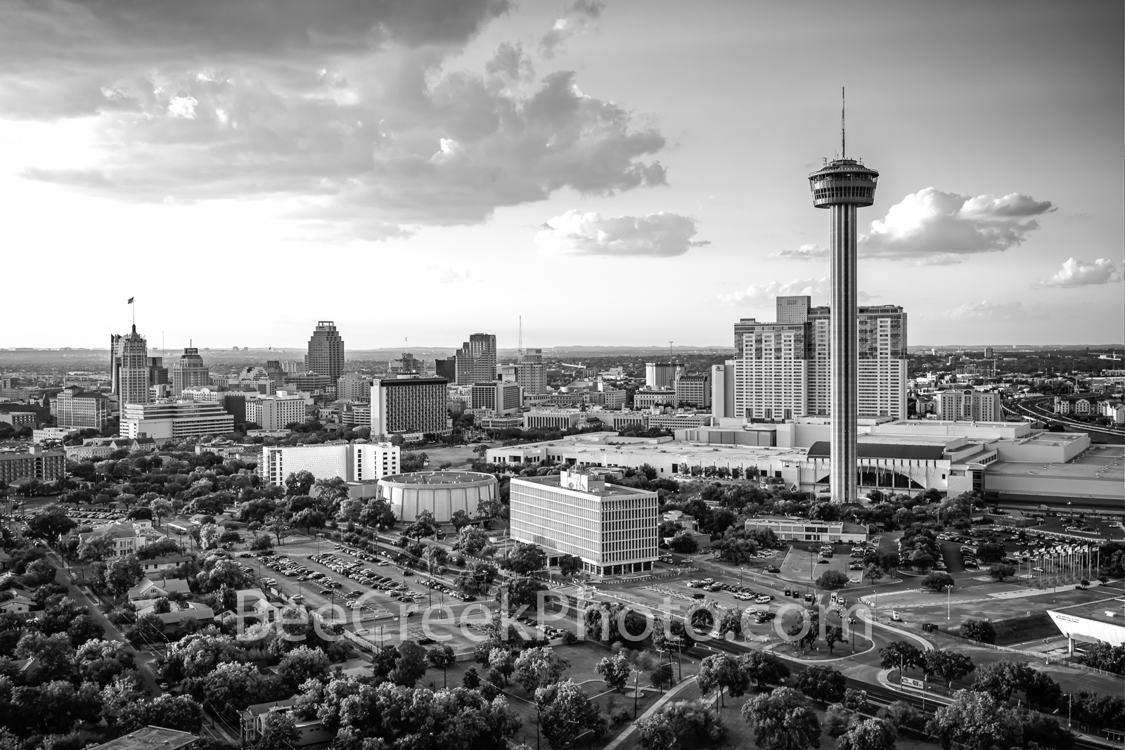 San Antonio Skyline Dusk B W  - San Antonio images on prints, canvas and metal. This is an aerial image of the San Antonio skyline...