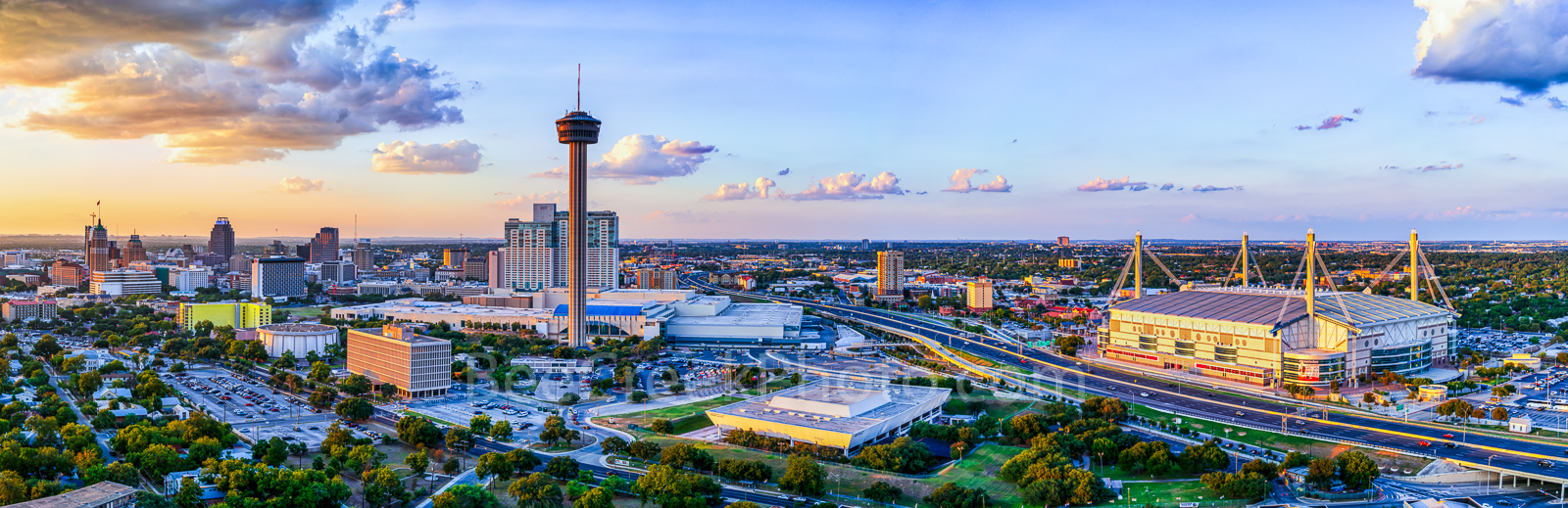 San Antonio, skyline, cityscape, dusk, aerial, Tower of America, Tower Life, building, Drury, Grand Hyatt, Frost Bank, Henry B Gonzales, convention center, historic site, city, landmark, pano, panoram, photo