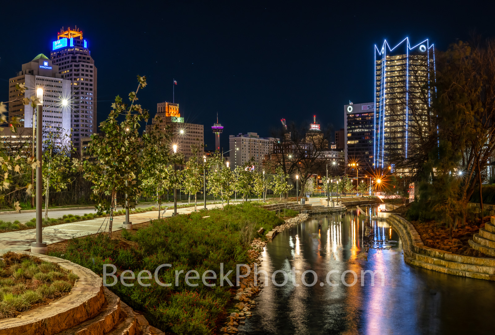 San Antonio skyline, San Antonio skyline pictures, San Antonio skyline images, Frost Tower, San Pedro Creek, reflections, water, night, creek, Frost Tower, Tower of Americas, Drury Hotel, Wydam Hotel,, photo