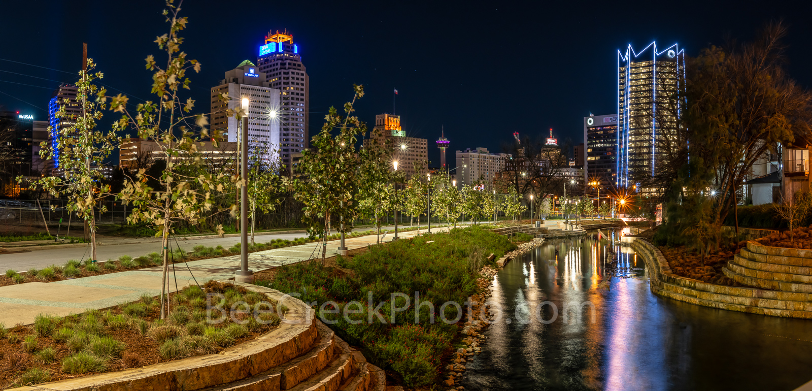 San Antonio Skyline,  San antonio,  Frost Tower,  San Pedro Creek, san antonio images, san antonio skyline pictures, san antonio skyline photos. reflections, water, Tower of Americas, Drury Hotel, Wyd