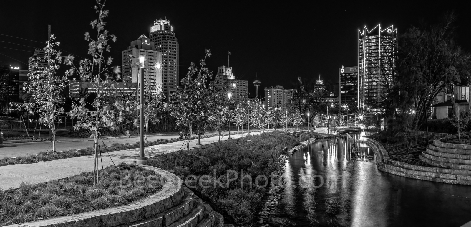 San Antonio, Frost Tower, San Pedro Creek, BW, black and white, reflections, water, Frost Tower, Tower of Americas, Drury Hotel, Wydam Hotel, BBVa Compass bank, downtown, boardwalk, linear park,, photo