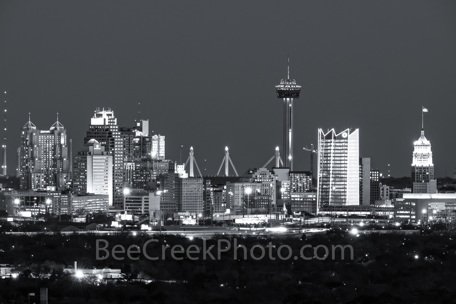 San Antonio Skyline, black and white, BW, San Antonio, Skyline, Frost Tower, Tower of America, Life Tower, Marriott, BBVA Compass Bank, city, , photo