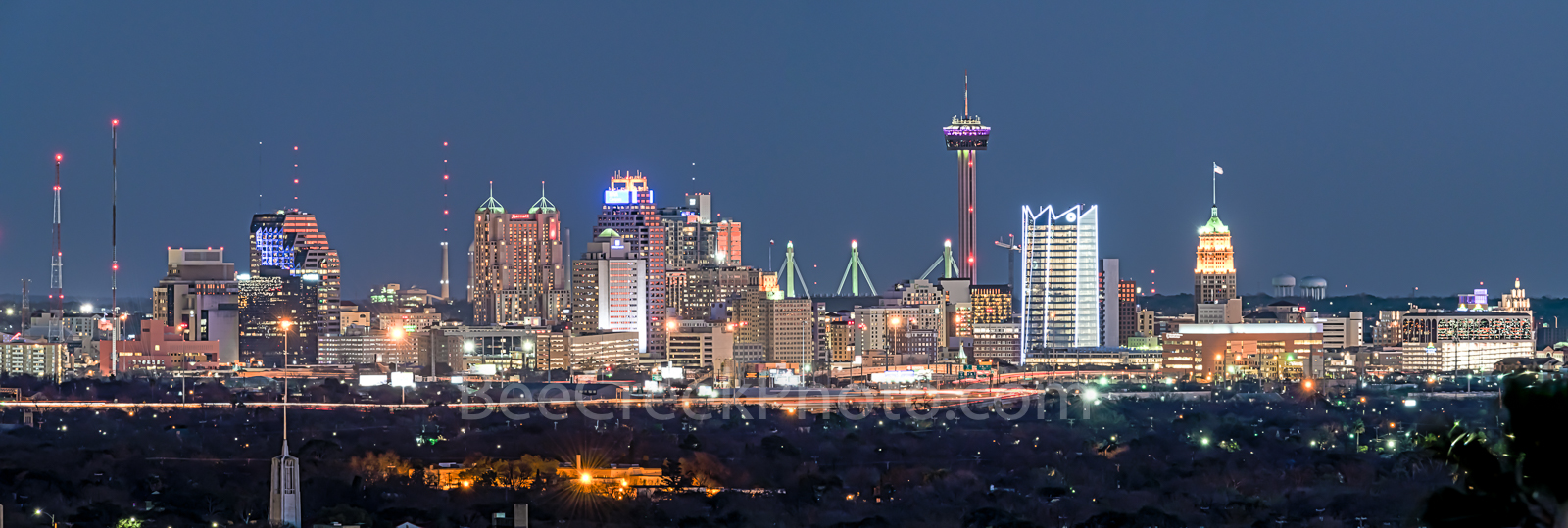 San Antonio Skyline, Night, Dark, san antonio images, san antonio photos, san antonio pictures, San Antonio, Skyline, Frost Tower, Tower of America, Life Tower, Marriott, BBVA Compass Bank, images of