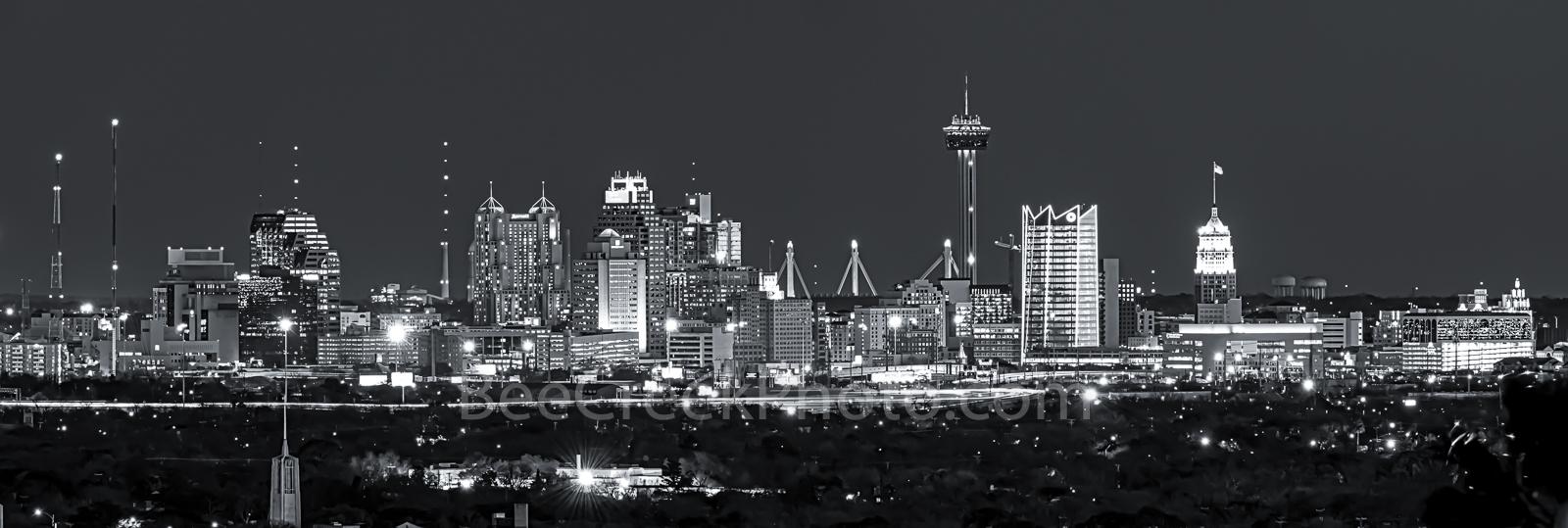 San Antonio Skyline, Night, Dark, black and white, bw,  night, San Antonio, Skyline, Frost Tower, Tower of America, Life Tower, Marriott, BBVA Compass Bank,, photo