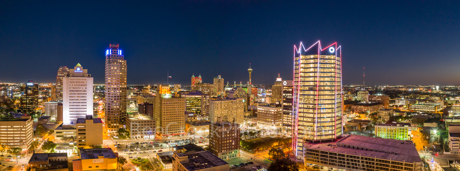 San Antonio Skyline, Night, Panorama, pano, Frost Tower, Marriott, Grand Hyatt, Tower of the Americas, hemisphere, drury hotel, downtown, San Antonio, texas, , Frost Tower, Frost, building, cityscape,