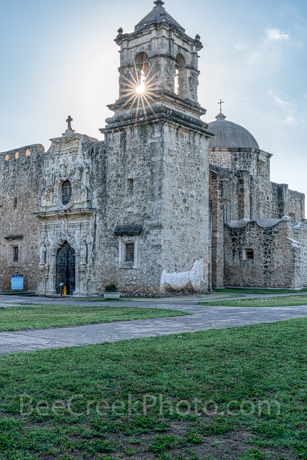 San Jose Steeple Ray -   MIssion San Jose in a vertical format which is one of the San Antonio Missions National...