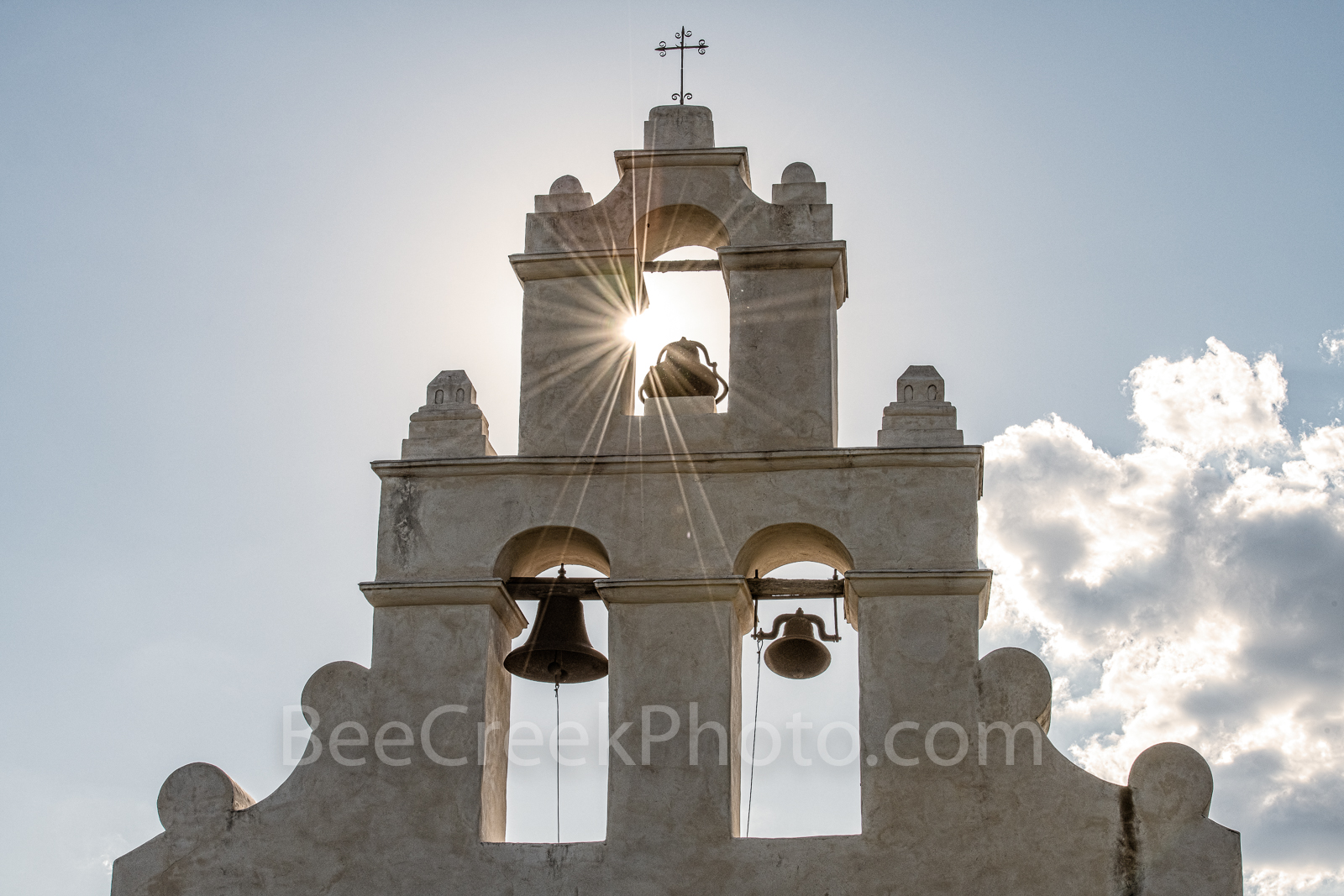 San Antonio, San Juan Mission, bells tower, sun rays, sparkle, Missions, San Juan Mission Bell Tower, tourist, close up, Texas missions, landmarks, churches, chruch, catholic, prints, canvas, metal, b, photo