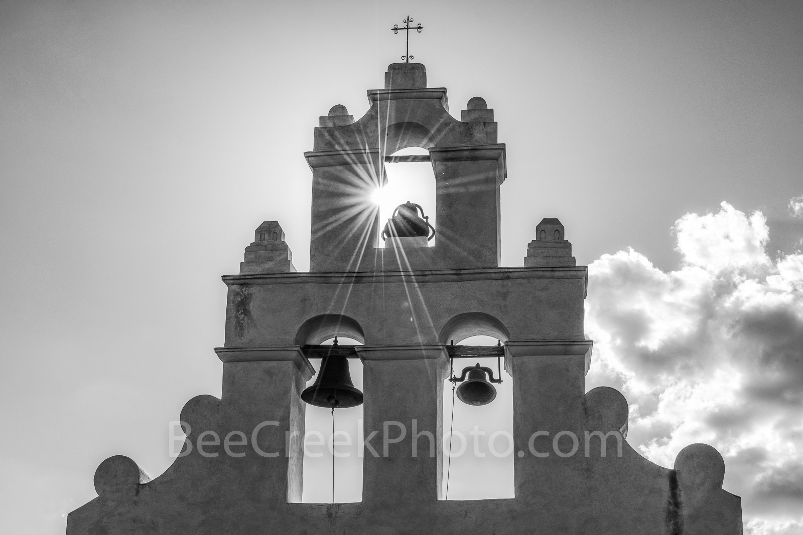 San Antonio, San Juan Mission, bells tower, sun rays, sparkle, Missions, bw, black and white, San Juan Mission Bell Tower, tourist, close up, Texas missions, landmarks, churches, chruch, catholic, pri