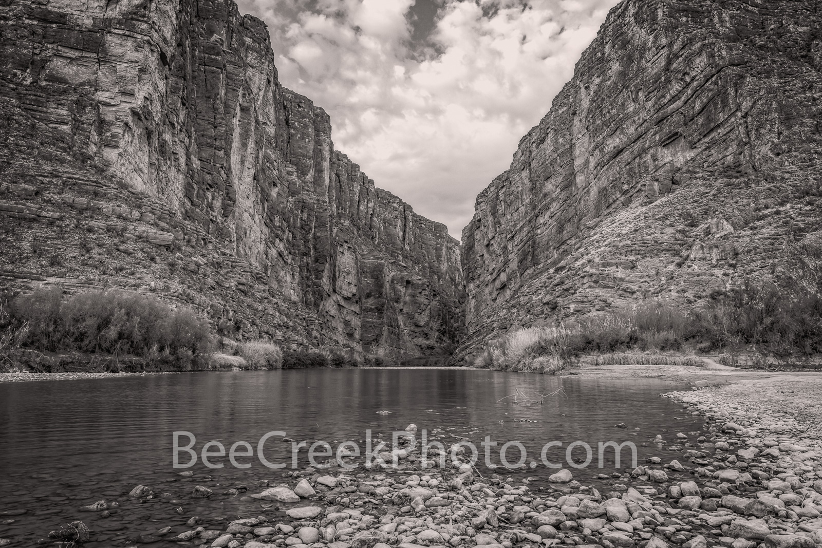 Santa Elena Canyon, Big bend national park, texas landscape, river rocks,  blue sky, nice clouds, canyons, mountains, Mexico, black and white, BW, , photo