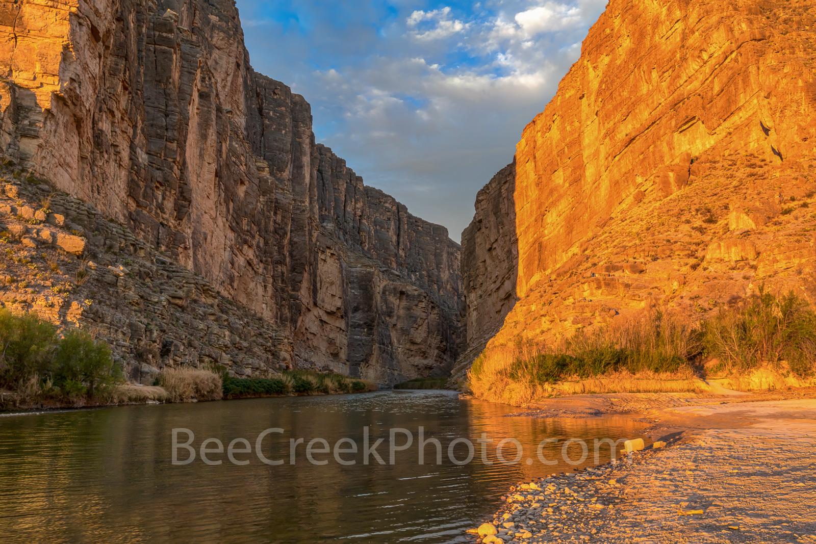 Santa Elena Canyon Glow, sunrise, glow, Big bend national park, texas landscape, river rocks, blue sky, nice clouds, canyons, rocks, down stream, coast, mountains, Mexico, canyons, Santa Elena Canyon,, photo
