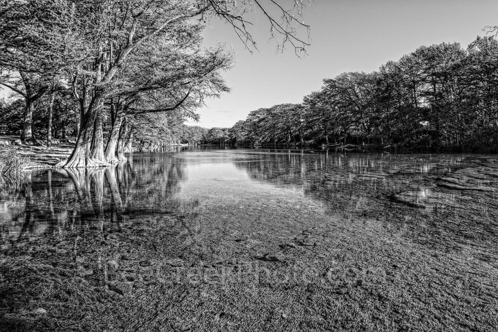 Scenic Frio River BW - Garner State Park is on of the most scenic and beautfiul places in the Texas Hill country as...
