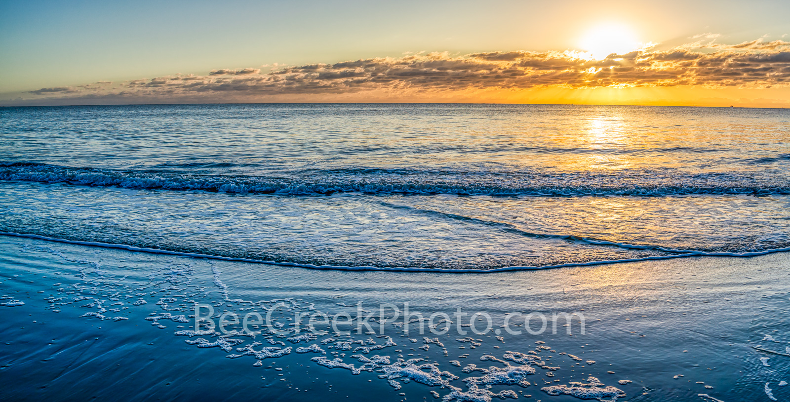 Ocean Serenity Pano - This wonderful seascape taken in early morning right after sunrise presented a nice golden glow over the...