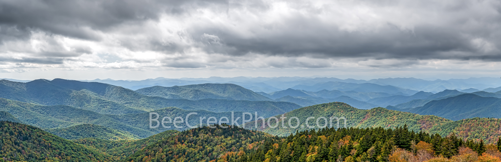 Shadows over Blue Ridge Mountains Pano  - The day did not disappoint with these cloudy skies casting shadows across the blue...