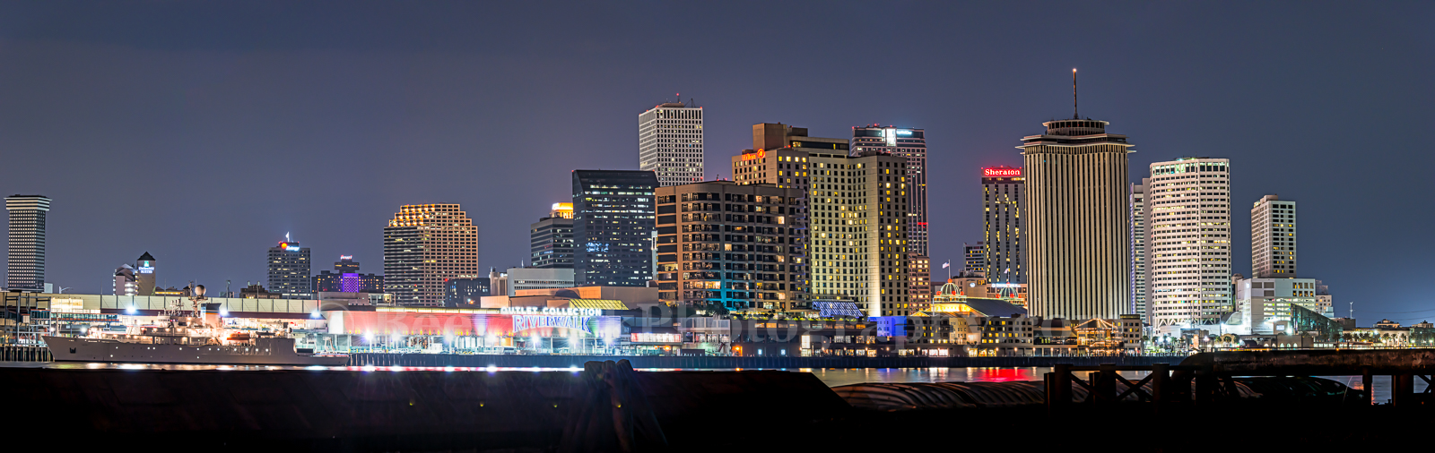 Lousianna, New Orleans, buildings, city, skyline, cityscapes, dark, downtown, high rise, night, pano, panorama, skyline, urban, waterfront, , New Orleans cityscapes, mississippi river, , photo