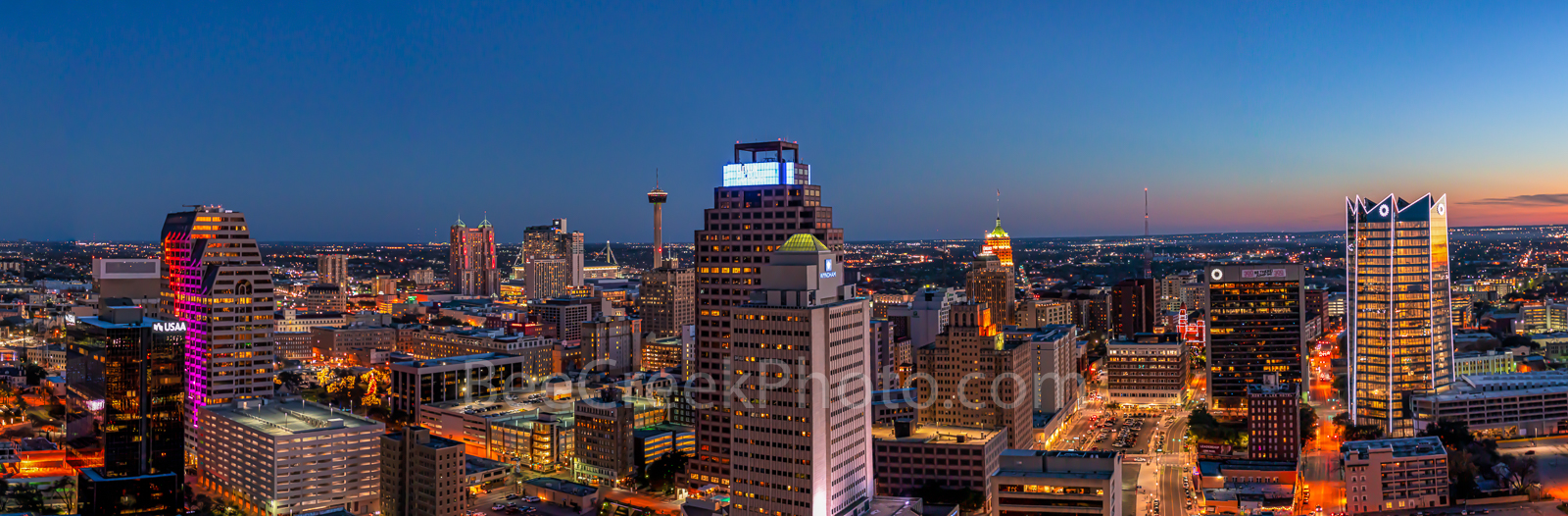 San Antonio Skyline, Night, Panorama, pano, Frost Tower, Marriott, Grand Hyatt, Tower of the Americas, hemisphere, drury hotel, downtown, San Antonio, texas, , Frost Tower, Frost, building, cityscape,, photo
