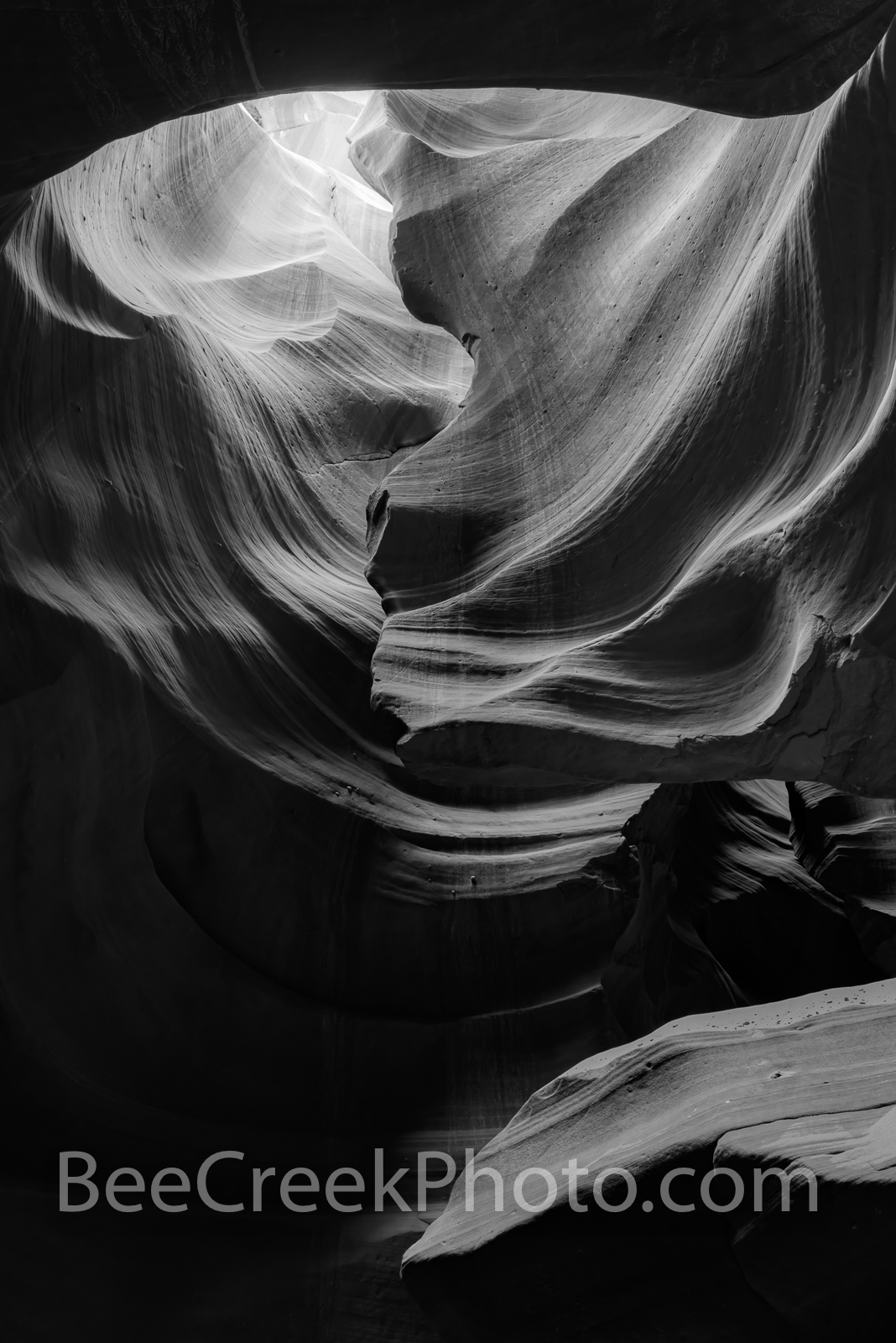 Slot Canyon Abstract BW Vertical - This captures the beauty and mystery of the Antelope Canyons one of the many slot canyons...