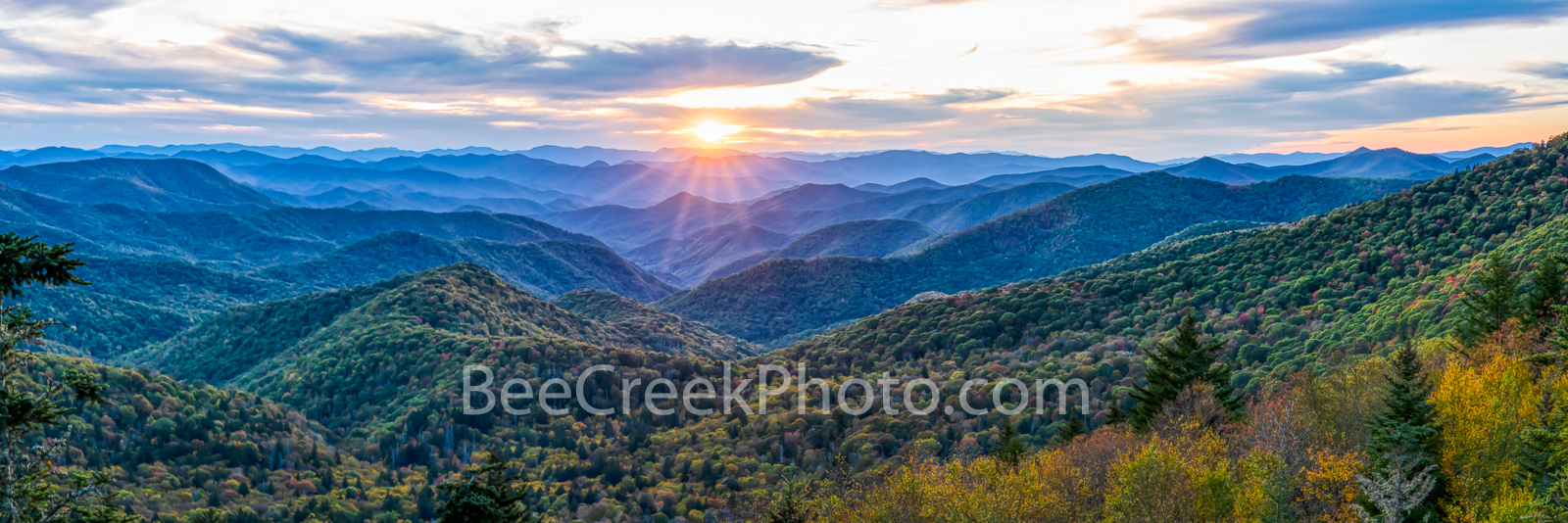 Smoky Mountain Sunset Pano - We had these amazing clouds and awesome sky come in just as I was trying to capture the sunset in...