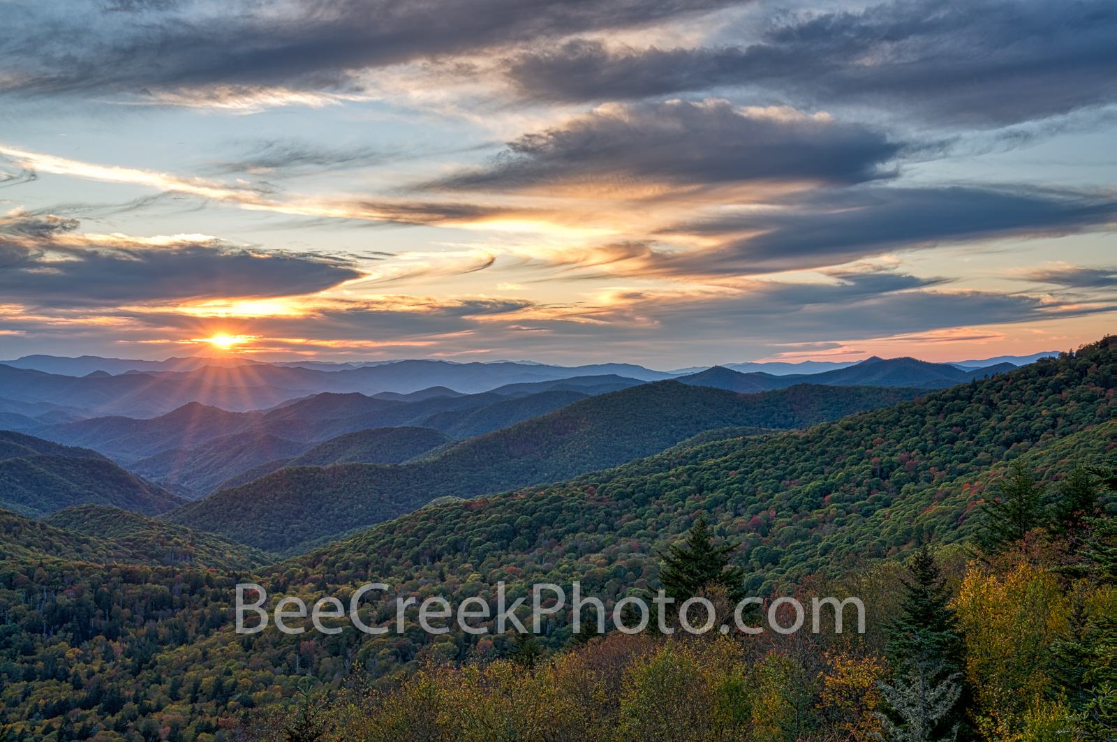 Smoky Mountain Sunset - We has these amazing moody clouds and awesome sky come in just as I was trying to capture the sunset...
