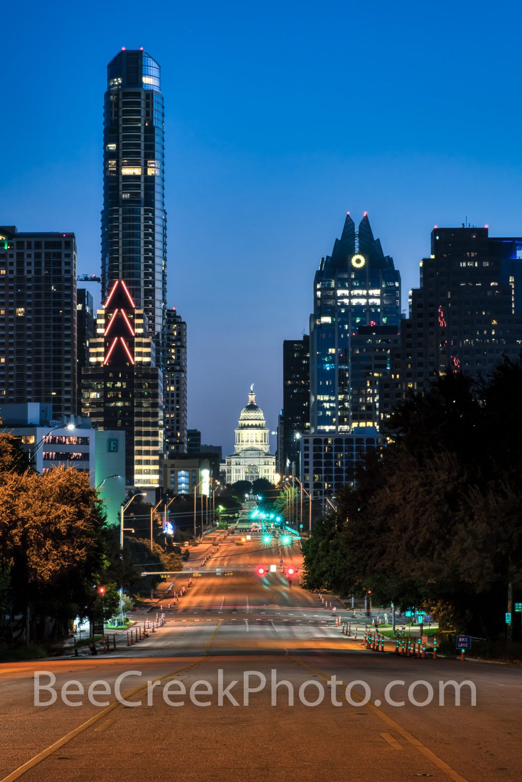 SOCO View of Texas Capitol - A view looking up Congress toward the Texas Capitol in downtown with the Austin skyline at dawn....