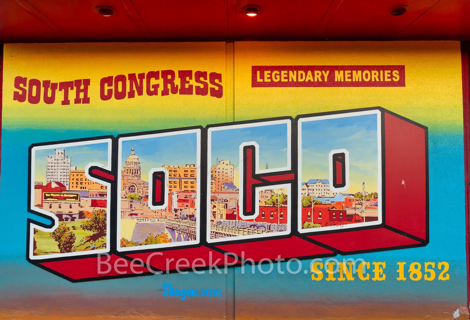 austin, austin texas, downtown  austin, south congress, soco, soco mural, trendy, music, shops, dinning, mural, austin murals, city of austin, hip area, wall mural, street art, downtown austin, austin, photo