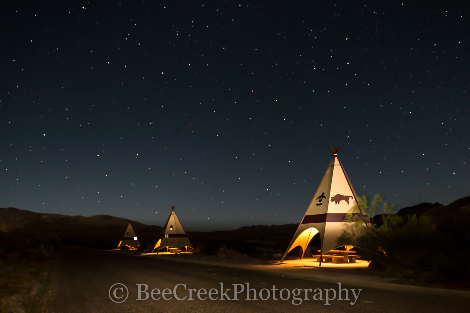 Big Bend State Park,  Big Bend, picnic area, teepees, dark skies, stars, night, dark, landscape, light painting, Texas landscapes, , photo