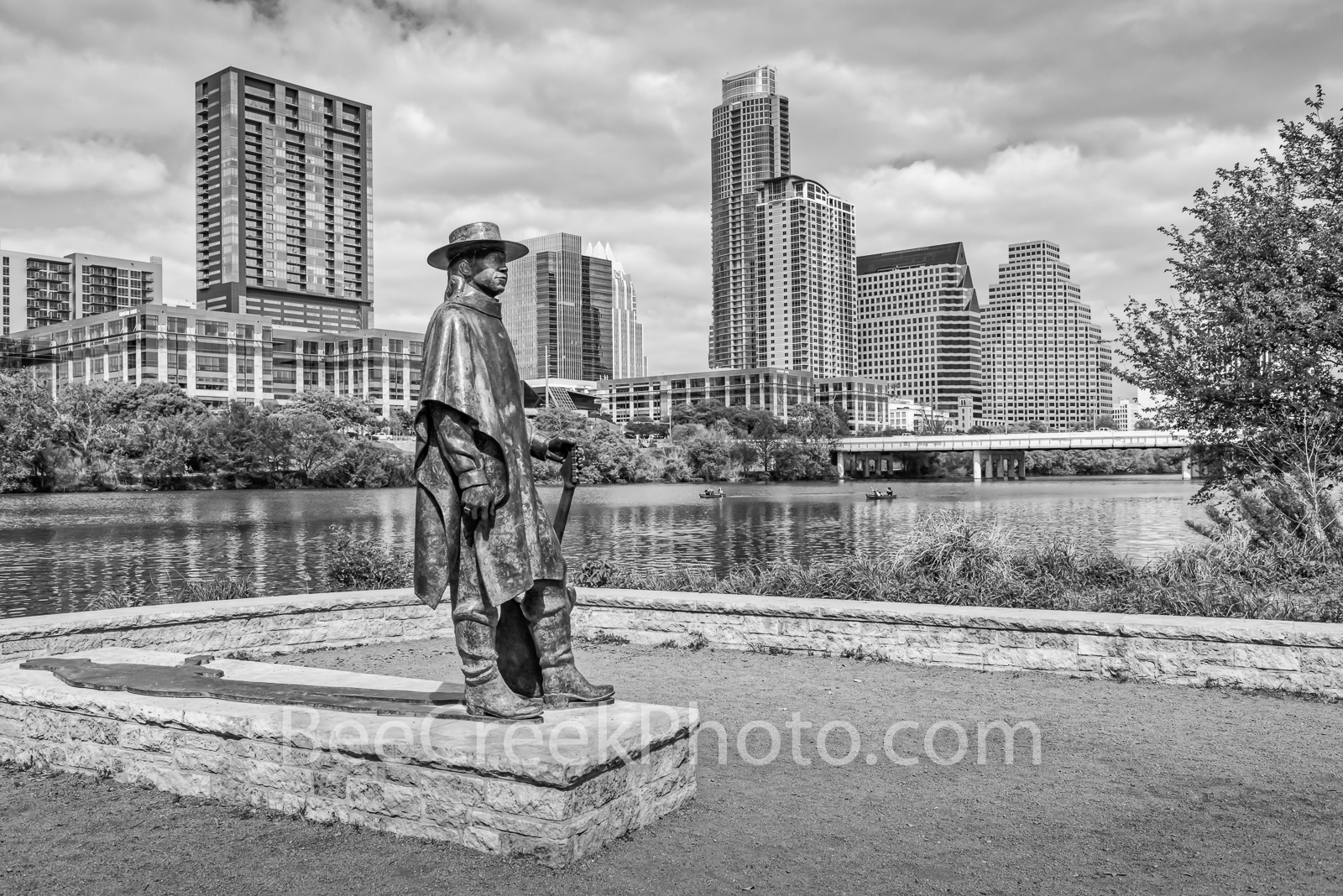 Stevie Ray Vaughn Austin BW - This is another view of the Stevie Ray Vaughn statue that stands along town lake or Lady Bird Lake...