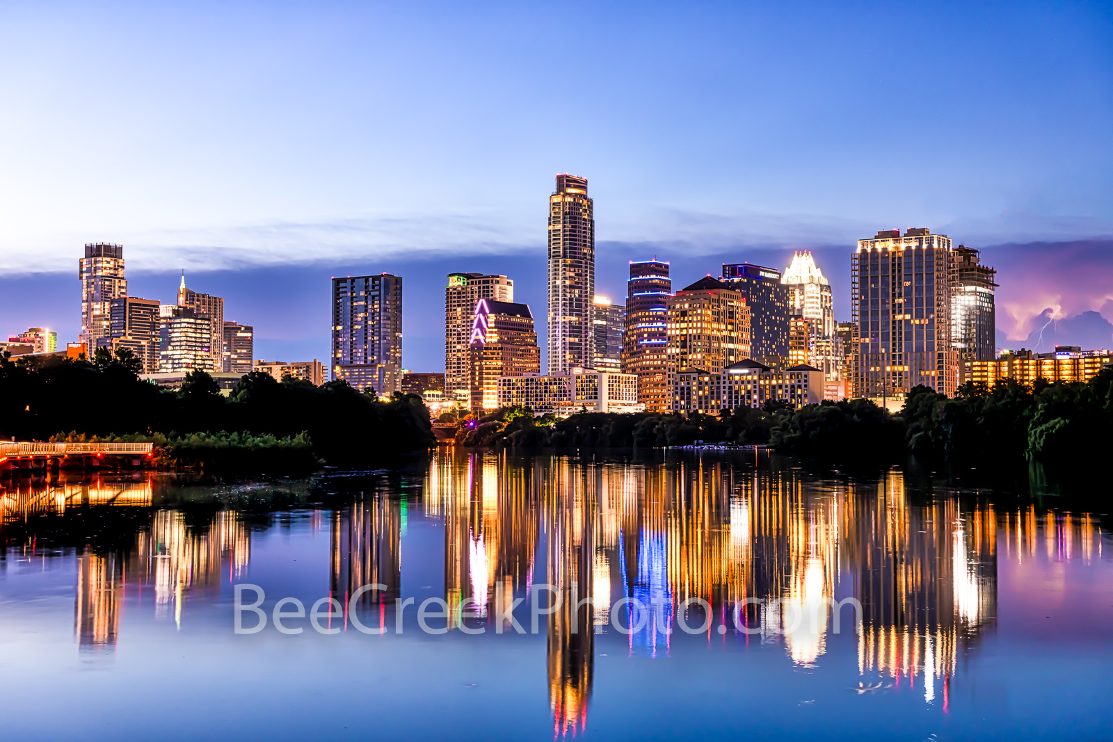 Austin Skyline, austin, skyline, pics of texas, boardwalk, violet, purple, pink, lavender, blue hour, night, buildings,  reflections, water, lady bird lake, urban, urban landscape, downtown, landscape