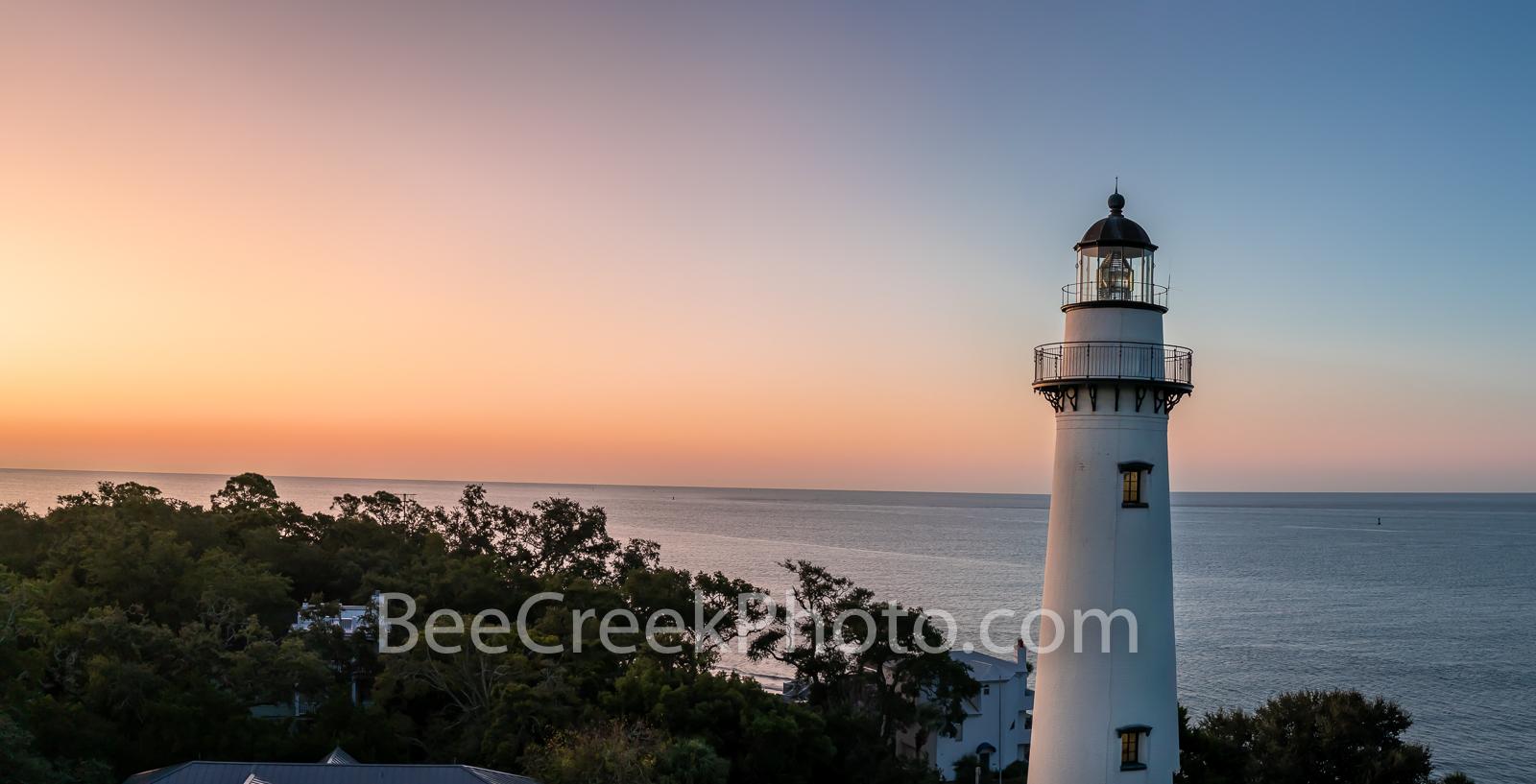 st. simon island, st. simon island lighthouse, lighthouse, sunrise, georgia, coast, ocean, alantic ocean, pano, panorama, georgia coast, coastal, golden isles barrier island, St. Simon Lighthouse