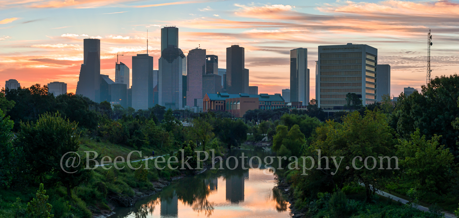 Houston, Sunrise, Buffalo Bayou skyline, buffalo bayou, pano, panorama, skyline, skylines, cityscape, cityscapes, downtown, water, reflections, pinks, oranges, sky, morning, city views, city,, photo
