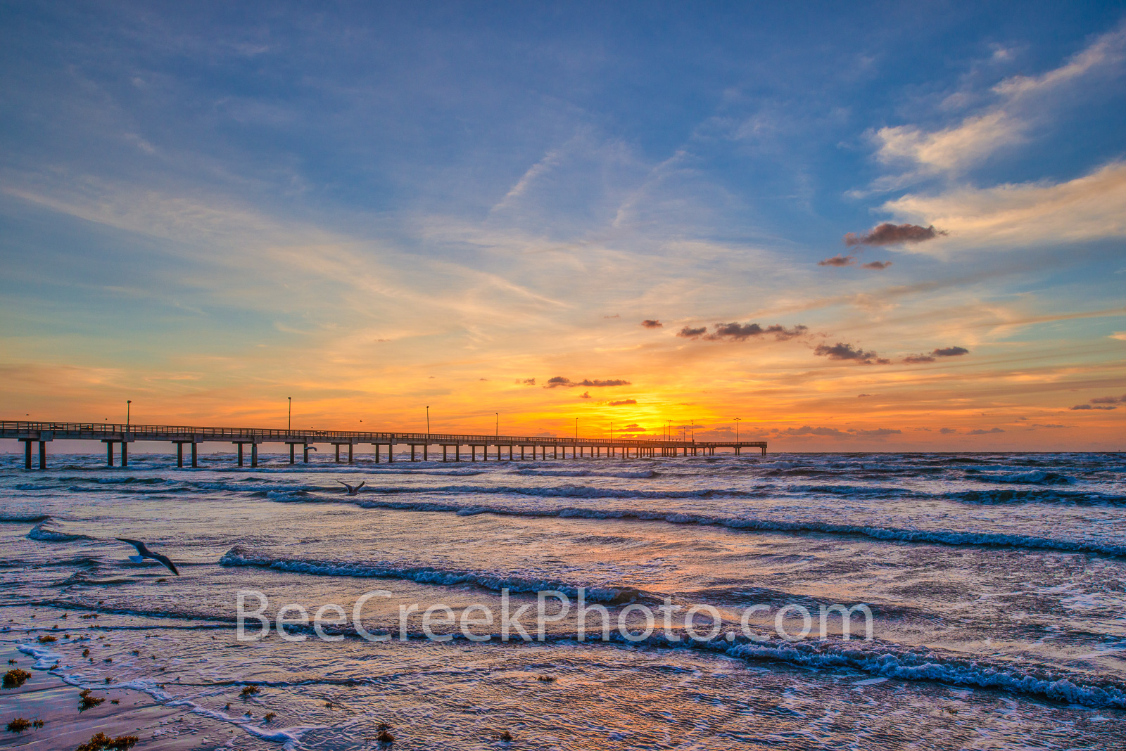 Sunrise over Pier at Texas Beach - Texas Landscape Prints -  Another scenic view from the gulf coast along the Texas beach at...