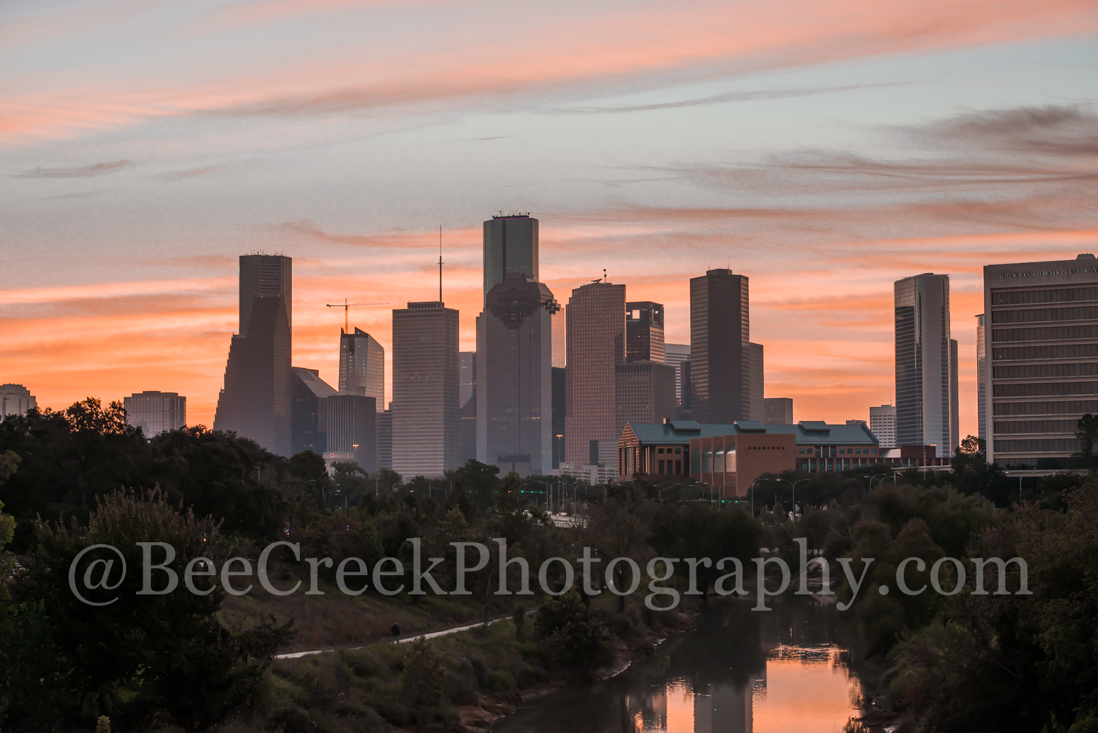 Houston, Buffalo Bayou, bayou, skyline, cityscape, water, reflections, city, downtown,