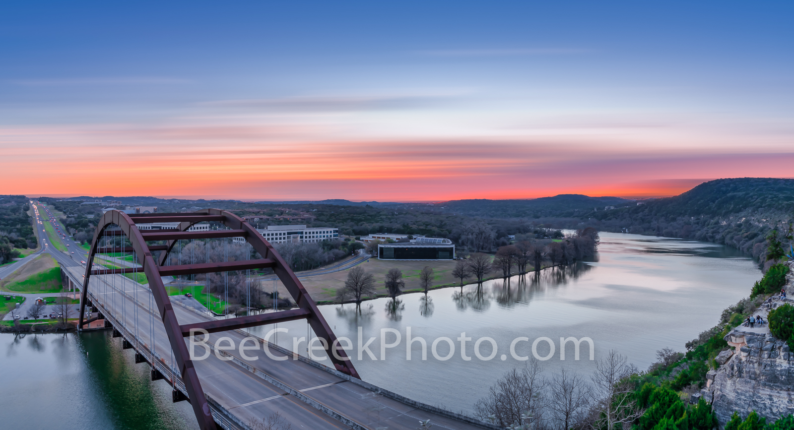 Austin 360 bridge, pennybacker bridge, Austin, Lake Austin, scenic, sunset, landscape, landscapes, sunset colors, scenery, clouds, images of austin, texas hill country, texas scenery,, photo