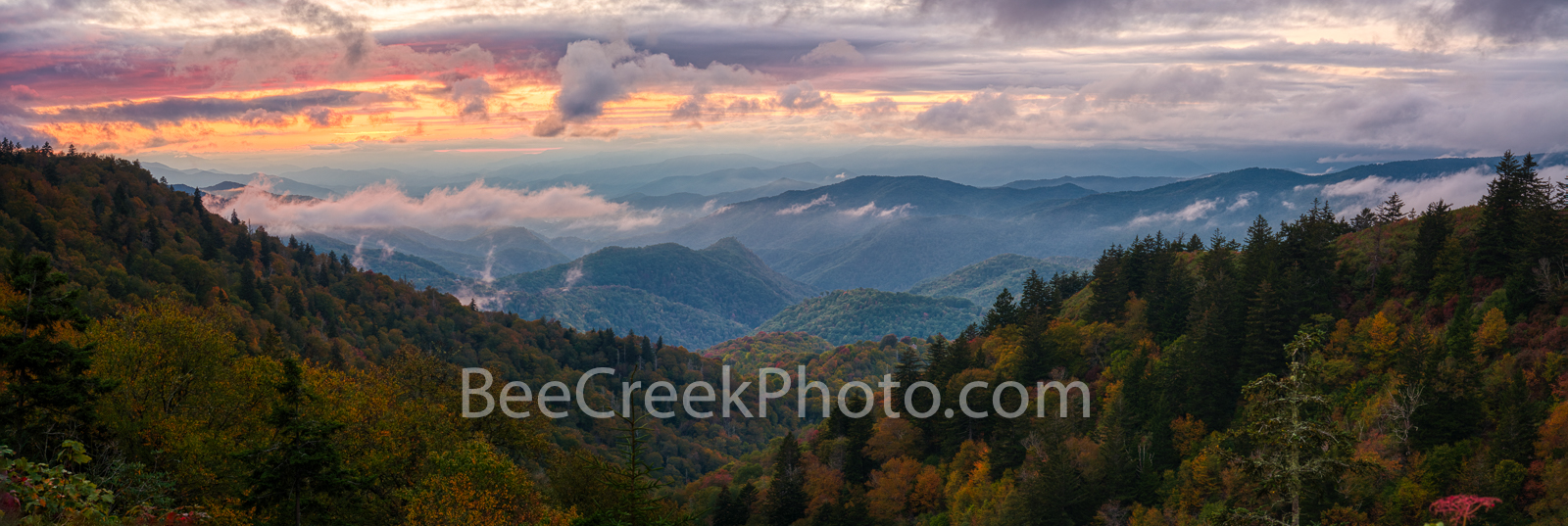 Sunset at Blue Ridge Mountains Pano - Shortly after sunset when colors were still peeking through the clouds you can see the...