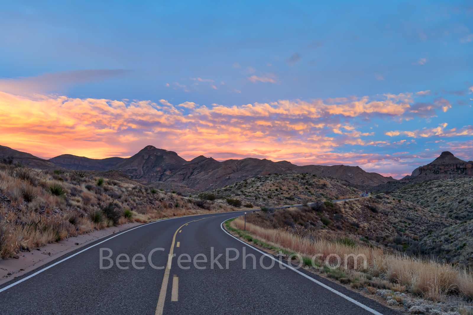 Chisos Mountains, Sunset, clouds, Ross Maxwell Scenic Drive, Big bend national park, Texas landscape, road, Sunset at Ross Maxwell Scenic Drive, Big Bend, scenic drive,, photo