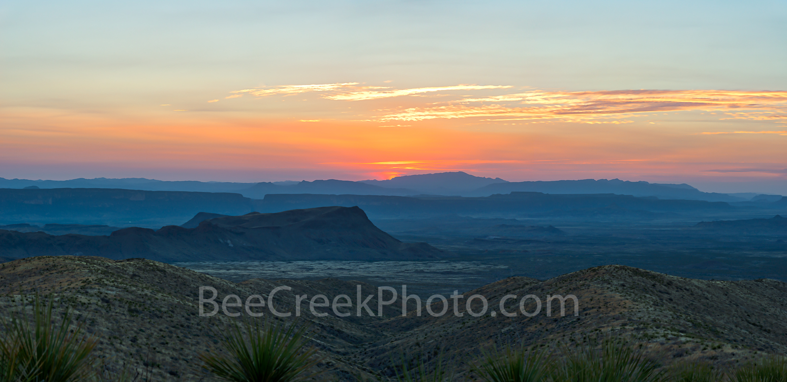 texas, sunset, Sunset Colors in Big Bend, colors of sunset,sotal overlook, mountains, big bend national park, sky, orange, yellow, pink blue, santa elena canyon, texascape, texas landscape, big bend s, photo