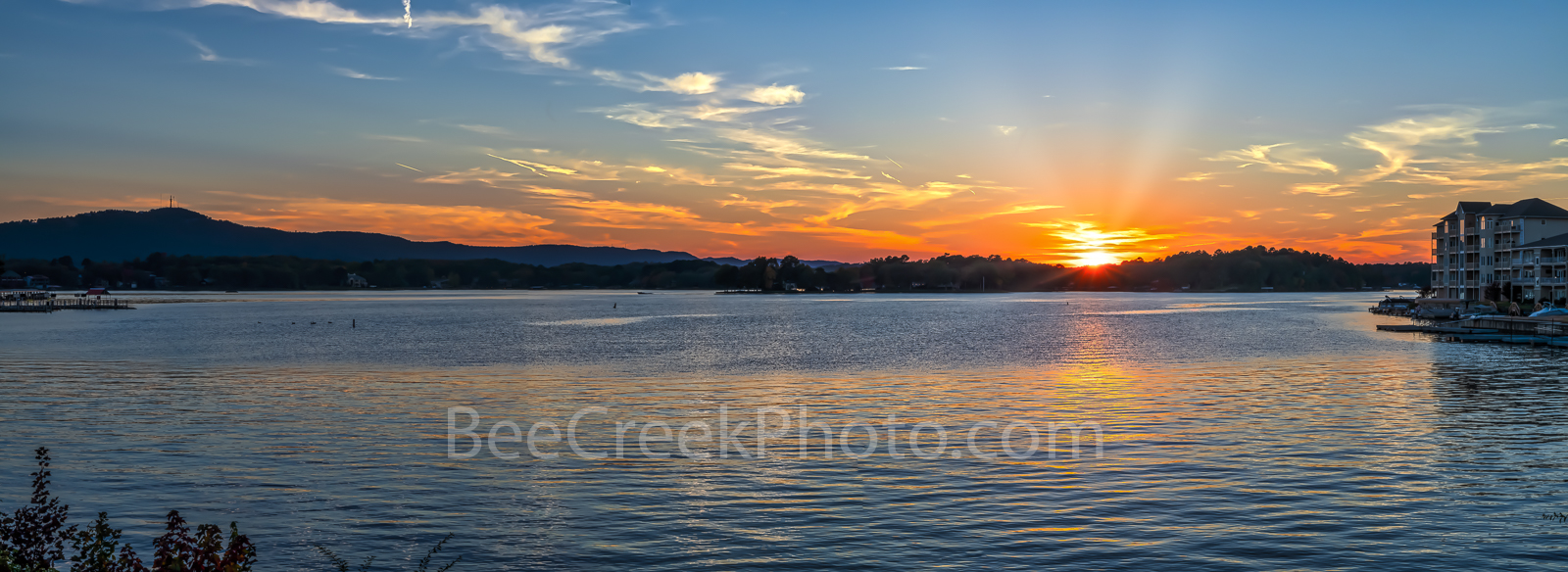 lake hamilton, sunset, hot springs, arkansas, city, pano, panorama, lake, forest, beautiful, fall,, photo